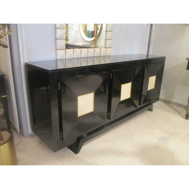 French Ebonized Sideboard with Parchment Doors For Sale - Image 11 of 13