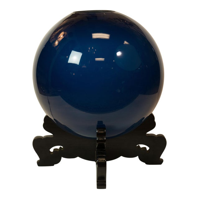 "Peacock Blue Japanese ""Crystal-Ball"" Lamp - Image 1 of 5"