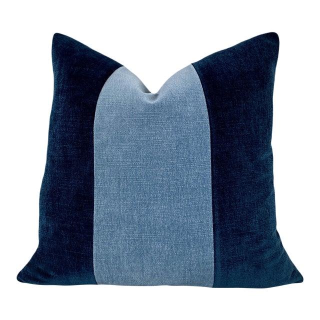 Navy And Blue Color Block Velvet Throw Pillow Chairish