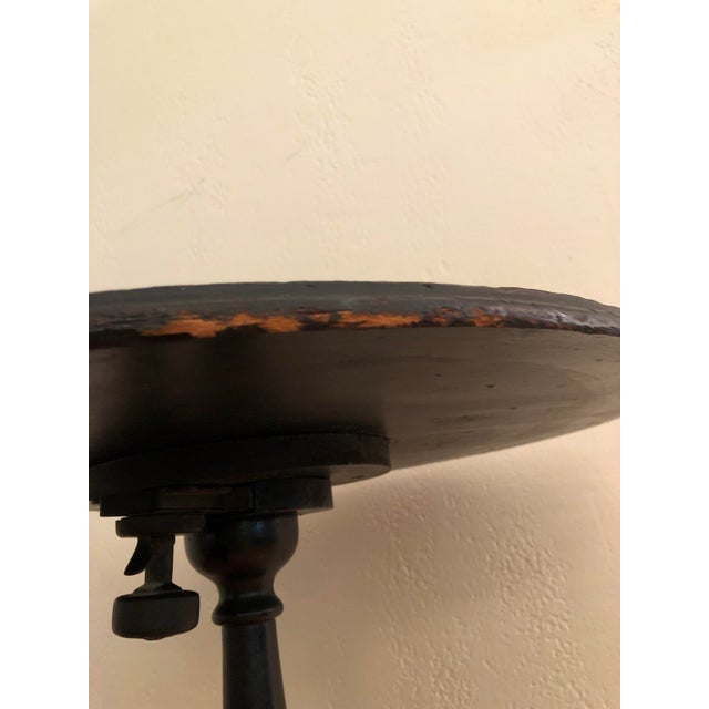Gold Antique Black Tilt Top Table With Painted Gold Chinoiserie Scene For Sale - Image 7 of 13