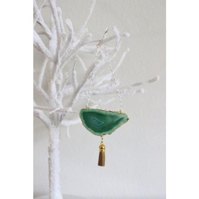 Modern Boho Green/Emerald Agate Holiday Ornament - Image 4 of 6
