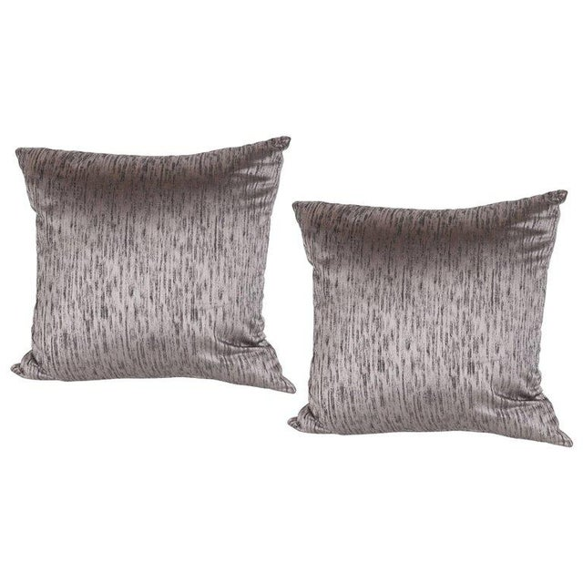 1920s Pair of Modernist Pillows in Iridescent Lavender with Organic Black Patternation For Sale - Image 5 of 5