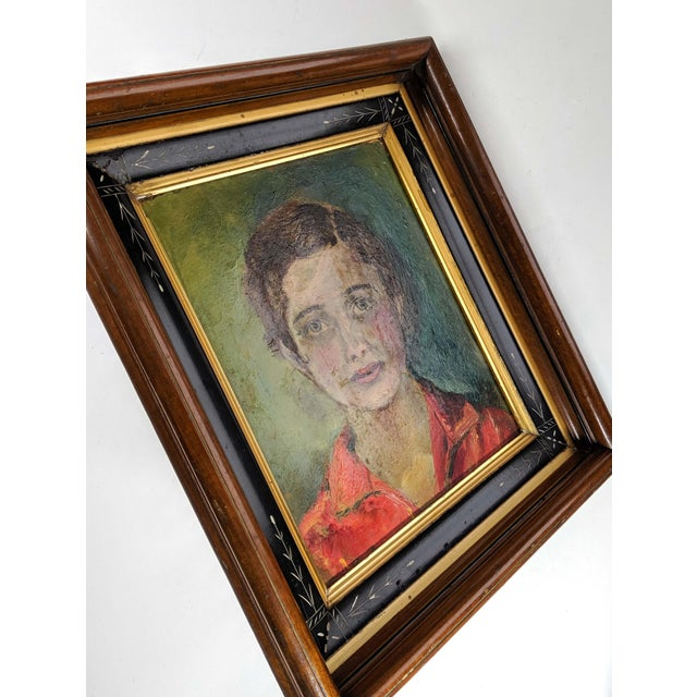 Portraiture Vintage Oil Painting, Portrait of Women With Antique Victorian Frame For Sale - Image 3 of 6