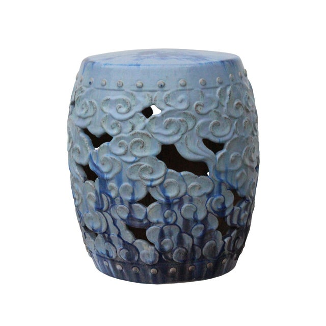 Asian Ceramic Clay Light Blue Glaze Round Scroll Pattern Garden Stool For Sale - Image 3 of 9