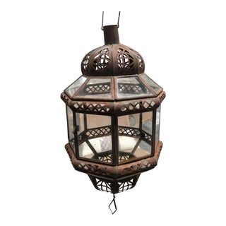 Vintage Moroccan Bronze Lantern For Sale