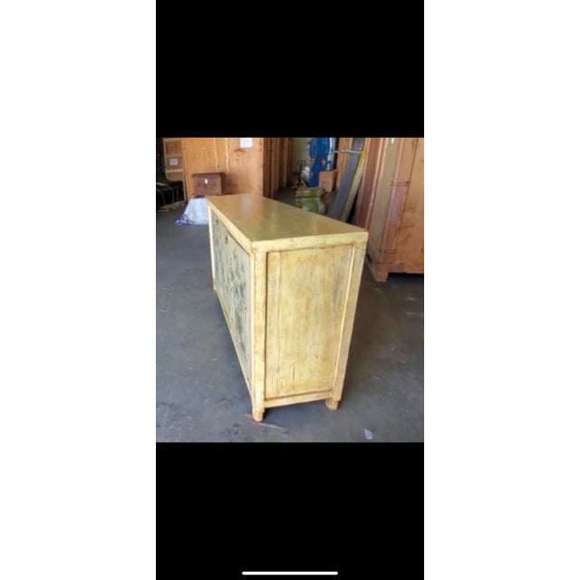 1970s Asian Style Credenza With Floral Motif Hand-Painted Door Panels For Sale - Image 11 of 11
