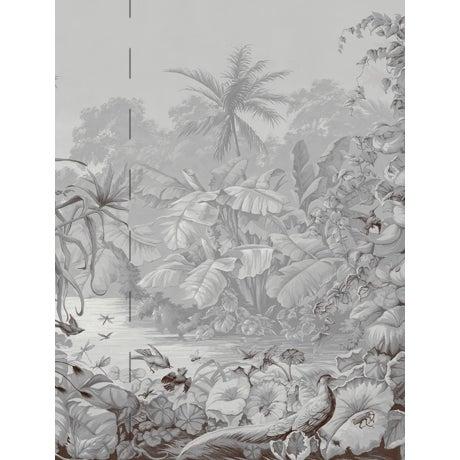Chinoiserie Casa Cosima Grey Brasília Wallpaper Mural - Sample For Sale - Image 3 of 3
