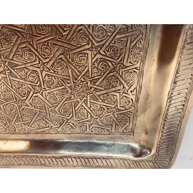 Spanish Moorish Rectangular Brass Tray For Sale - Image 11 of 12