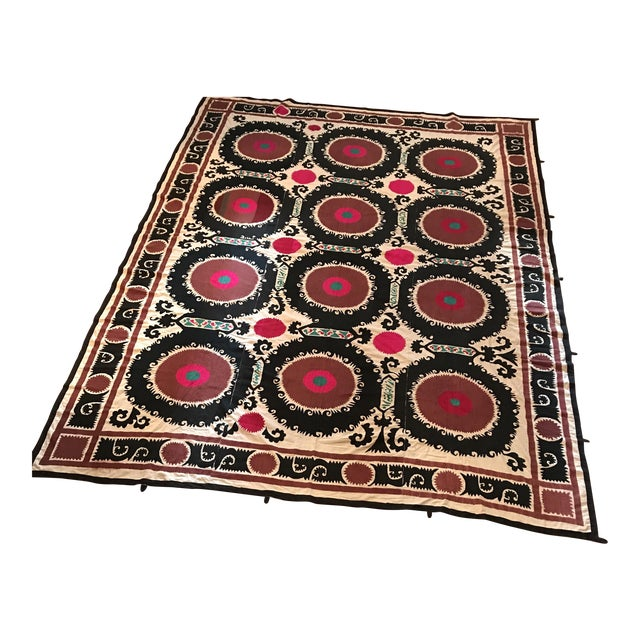 Vintage Uzbek Suzani Hand Embroidered Wall Hanging For Sale