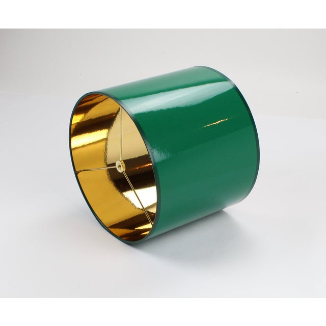 Lampshade Designs Small High Gloss Emerald Green Drum Lampshade For Sale - Image 4 of 7