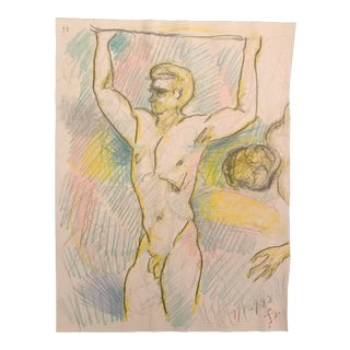 1998 Male Nude Drawing by James Bone For Sale