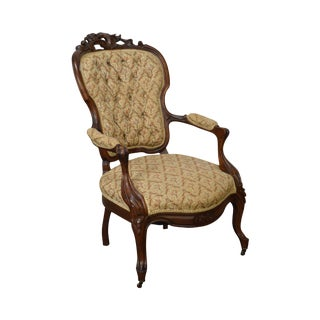 Victorian Renaissance Carved Walnut Arm Chair For Sale