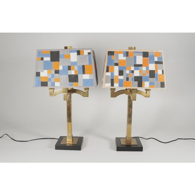 Mid-Century Modern Brass Table Lamps - a Pair For Sale - Image 11 of 11