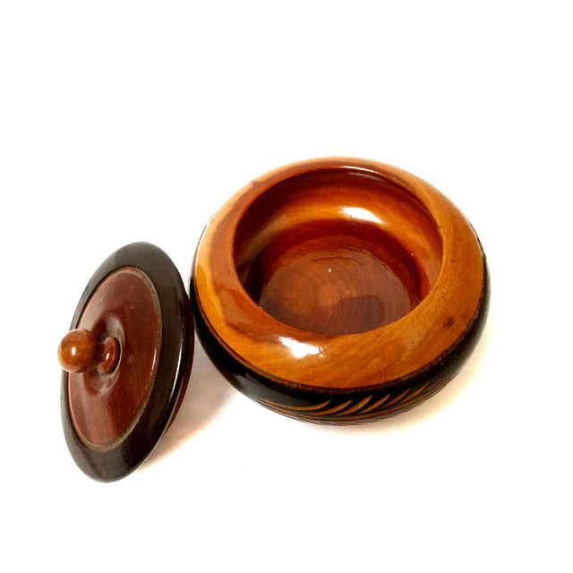 Rustic Vintage Hand Carved Wooden Bowl With Lid For Sale - Image 3 of 4