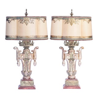 19th C. Italian Painted Giltwood Lamps For Sale