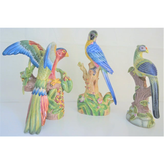 Feather 1980 Chinese Export Exotic Bird Figurines - Set of 3 For Sale - Image 7 of 11