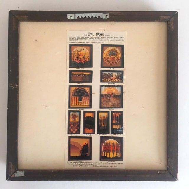 "1974 Vintage Modernist Virgil Thrasher ""Lucid Lines"" Painted Glass 3d Shadow Box Art - 3 Piece Set For Sale - Image 10 of 11"
