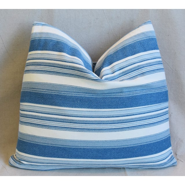 """French Blue & White Nautical Stripe Feather/Down Pillows 20"""" X 18"""" - Pair For Sale - Image 12 of 13"""