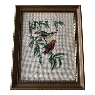 Vintage Two Song Birds Framed Needlepoint For Sale