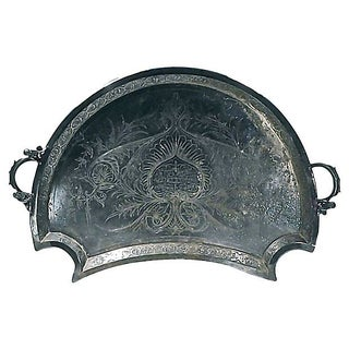 19th Century Antique Cherub Bronze Tray For Sale