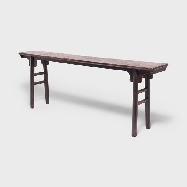 Asian 18th Century Chinese Ming Form Elm Console Table For Sale - Image 3 of 7