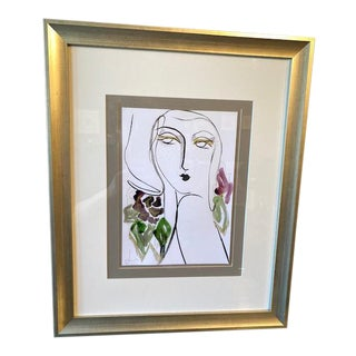 Framed Ink & Watercolor Portrait Drawing For Sale