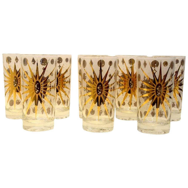 Eight Vintage Fred Press White and Gold Celestial Pattern Tom Collins Glasses - Image 1 of 8