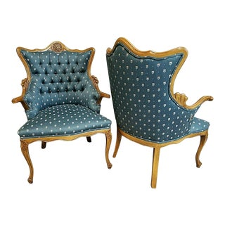 Antique French Louis XV Style Tufted Parlor Chairs Armchairs - Set of 2 For Sale