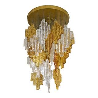 Vintage Murano Glass Flushmount Chandelier For Sale