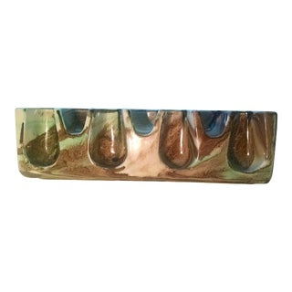 Vintage Mid-Century Italian Brown Drip Glaze Ceramic