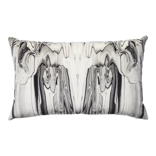 Velvet Marbled Ink Lumbar Pillow For Sale