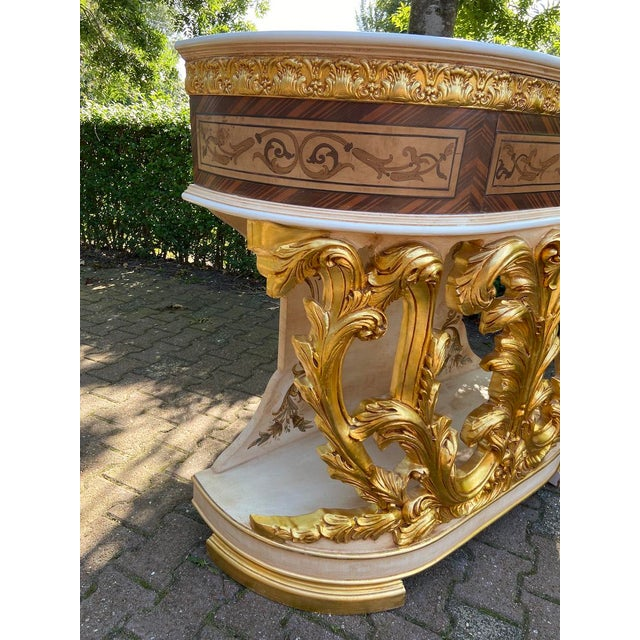 Gold New Italian Rococo/Baroque Style Table in Gold and Brown With Wooden Top For Sale - Image 8 of 13