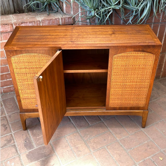 """Brown Mid-Century Modern Lane """"Rhythm"""" Walnut and Cane Cabinet For Sale - Image 8 of 10"""