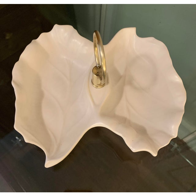 1960s Vintage California Pottery Alabaster & Brass Double-Leaf Nut / Condiment Dish For Sale - Image 10 of 12
