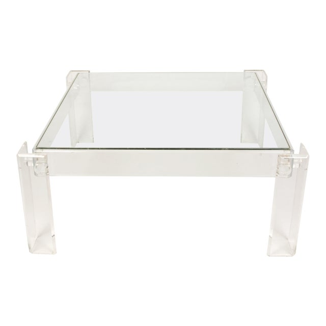 Lucite and Glass Square Cocktail Table For Sale