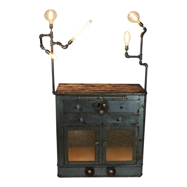 Antique Upcycled Metal Medical Cabinet - Image 1 of 6
