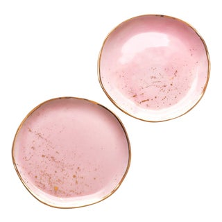 Suite One Studio Dessert Plates in Rose With Gold Splatters For Sale