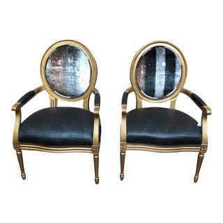 French Velvet Back Chairs - a Pair For Sale
