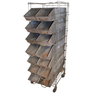 Industrial Bakery Rack With 14 Bins From Wonder Bread Factory