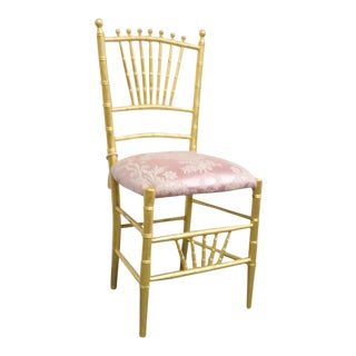 Victorian Faux Bamboo Gold Gilt Side Chair For Sale