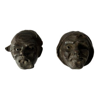 Early 1900s French Carved Oak Heads- a Pair For Sale