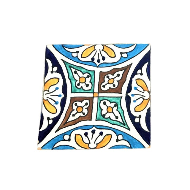 Hand Painted Large Moroccan Decorative Cement Tile For Sale