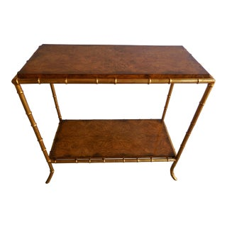 Burlwood & Faux Bamboo Table For Sale