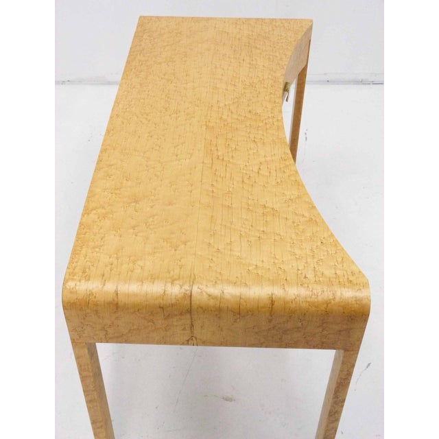 Birds Eye Maple Burl Wood Desk & Bench - Image 9 of 11