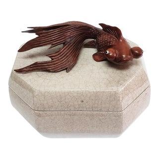 Vintage Ceramic Box W/ Hand Carved Koi Fish For Sale