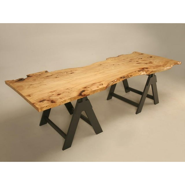 Contemporary French Burl Elm Slab Dining Table, or Desk For Sale - Image 3 of 11