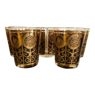 Mid-Century Libbey 1965 Black and Gold Lowball Glasses - Set of 5
