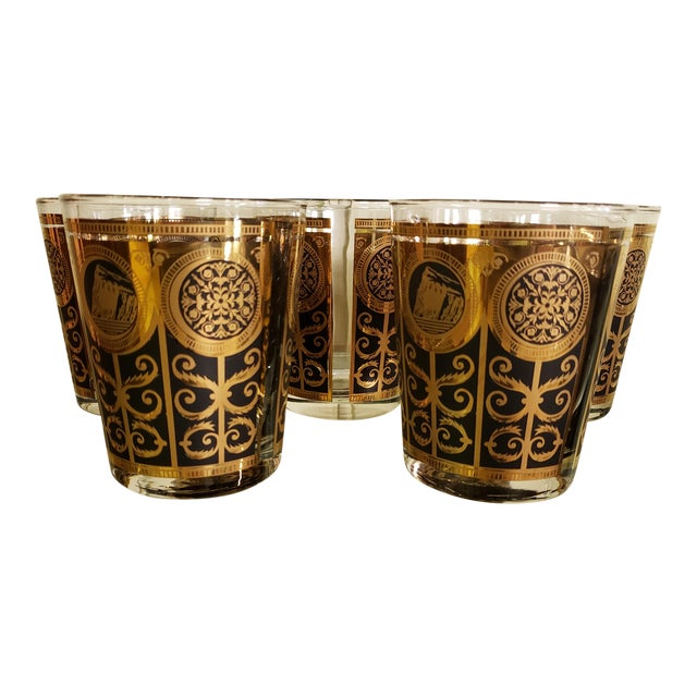 Mid-Century Libbey 1965 Black and Gold Lowball Glasses - Set of 5 For Sale
