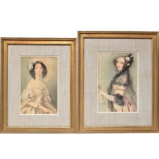 19th Century Victorian Era Portrait Watercolor Paintings, Framed - a Pair For Sale