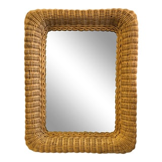 Vintage Wicker Wall Mirror For Sale